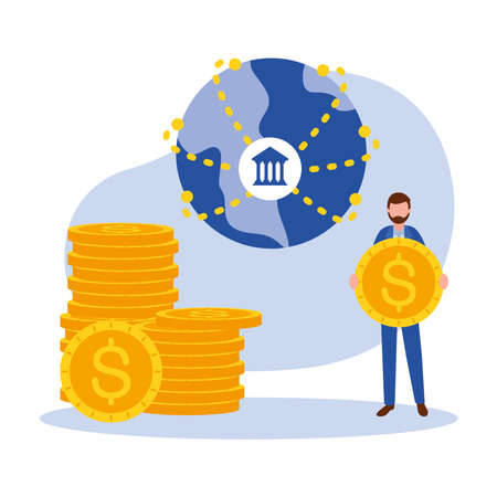 man avatar with coins and bank of Online payments money and ecommerce theme Vector illustration
