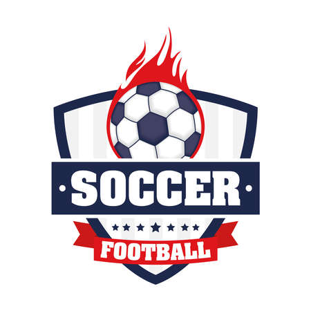 football soccer sport poster with shield and balloon on fire vector illustration design
