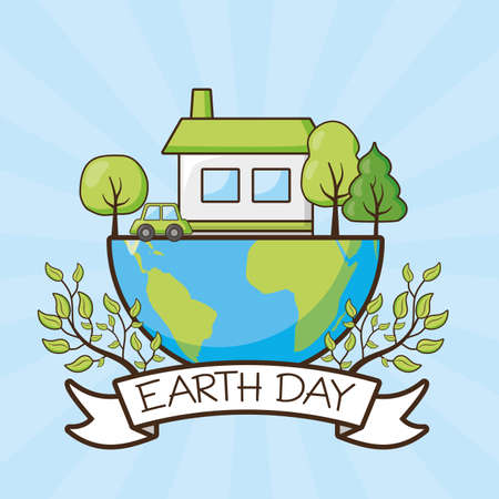 planet house ecology trees emblem earth day vector illustration