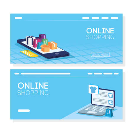 shopping online tech in smartphone and laptop vector illustration design