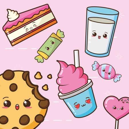 kawaii fast food character cartoon vector illustration Vektorgrafik