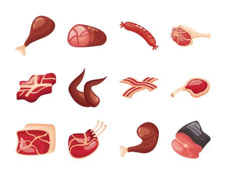 bundle of meat cuts set icons vector illustration design Vektorgrafik