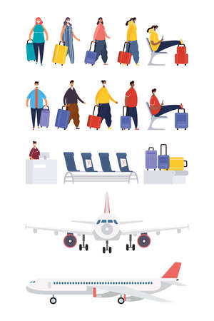 interracial people travelers with suitcases avatars characters vector illustration design Ilustração