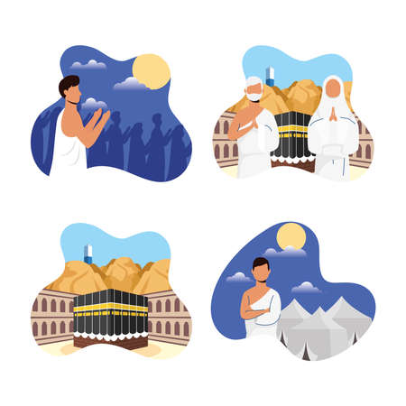 Hajj pilgrimage with people and icons scenes vector illustration design