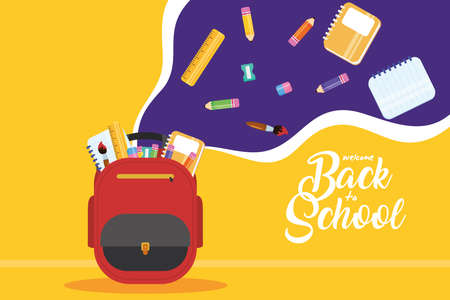 back to school poster with schoolbag and supplies vector illustration design