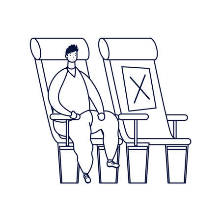 young man seated in airplane chair avatar character vector illustration design