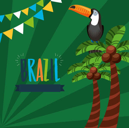 canival of rio brazilian celebration with lettering and toucan vector illustration design