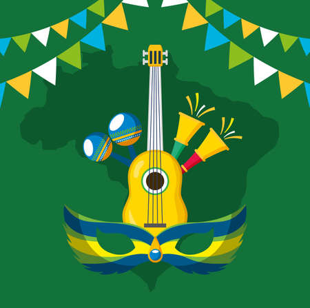 canival of rio brazilian celebration with musical instruments vector illustration design Illustration