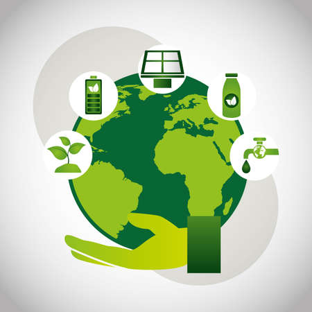 eco friendly poster with earth planet and set icons vector illustration design