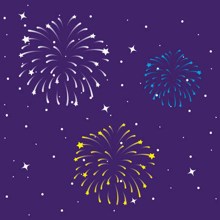 Fireworks burst explosions in the purple sky vector illustration design