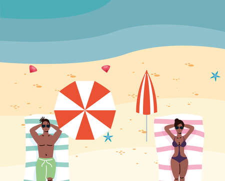 afro couple on the beach practicing social distance vector illustration design 일러스트