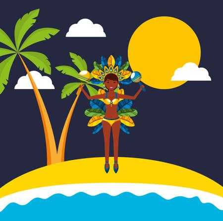 brazilian garota dancing carnival character vector illustration design
