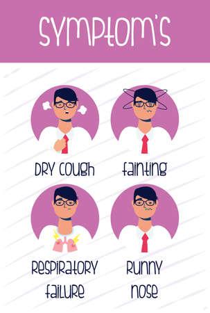 covid 19 symptoms of disease icon vector illustration design