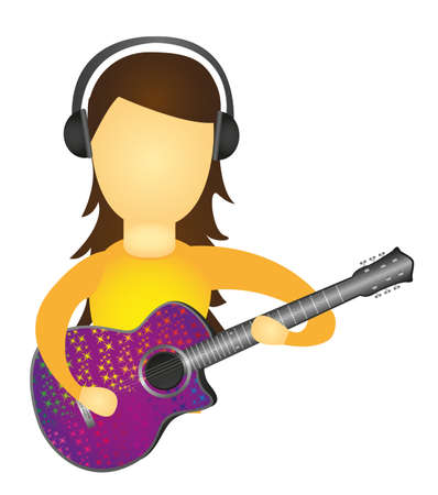 woman playing guitar and listening to music isolated. vector