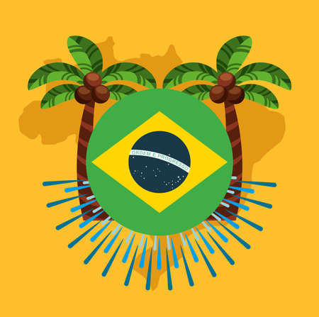 canival of rio brazilian celebration with flag vector illustration design