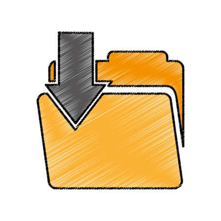 folder with arrow download vector illustration design