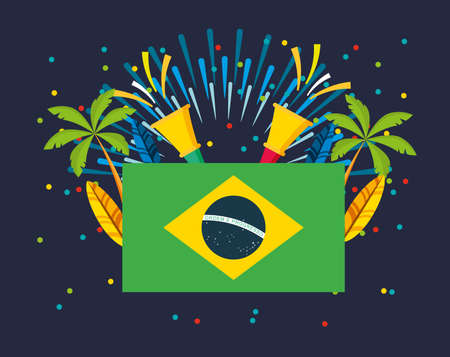 canival of brazilian celebration with flag vector illustration design Banque d'images - 154319494