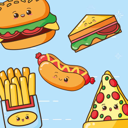 kawaii fast food character cartoon vector illustration