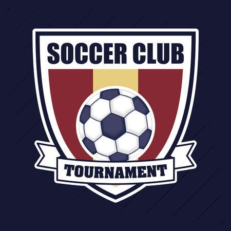 football soccer sport poster with balloon in shield vector illustration design