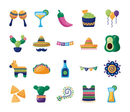 bundle of mexican set icons vector illustration design Векторная Иллюстрация