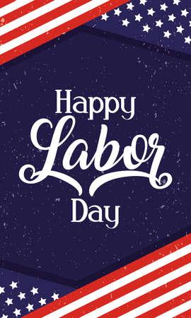 happy labor day celebration with usa flag vector illustration design
