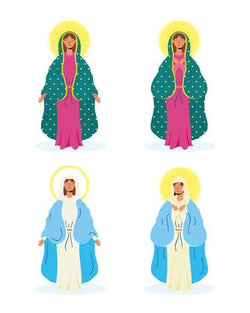 assumption of beautiful mary virgins group vector illustration design