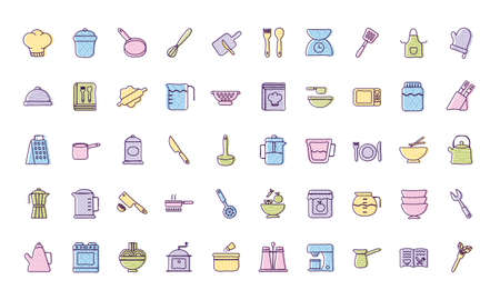 line and fill style icon set design, Cook kitchen eat and food theme Vector illustration Illustration