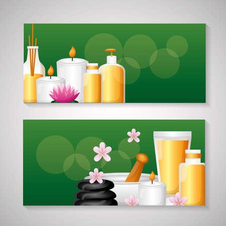 spa treatment therapy banner stones bowl lotion gel vector illustration Vektorgrafik