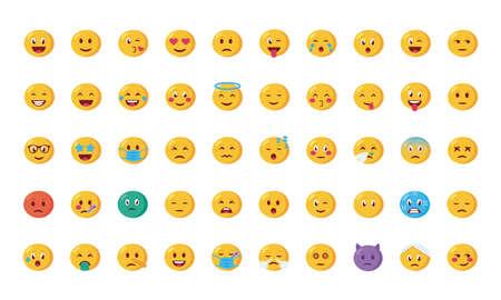 bundle of emojis faces set icons vector illustration design