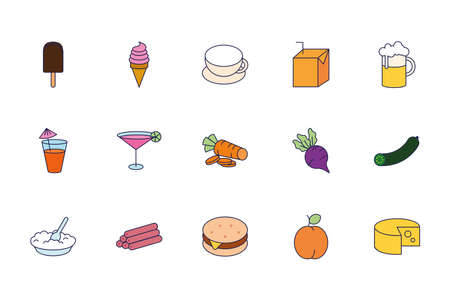 bundle of food and drinks icons vector illustration design