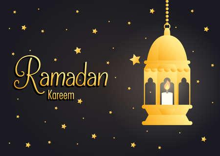 Ramadan kareem card with golden lantern hanging vector illustration design