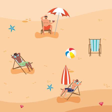 interracial men on the beach practicing social distance vector illustration design