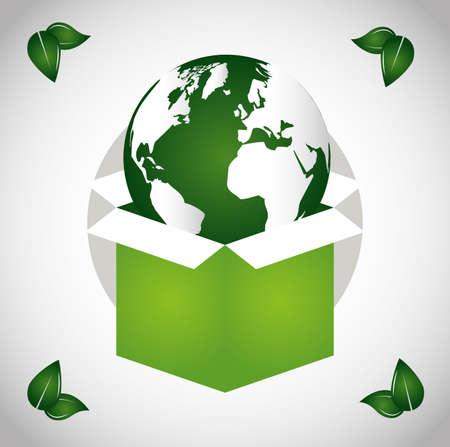 eco friendly poster with earth planet in box vector illustration design Vektoros illusztráció