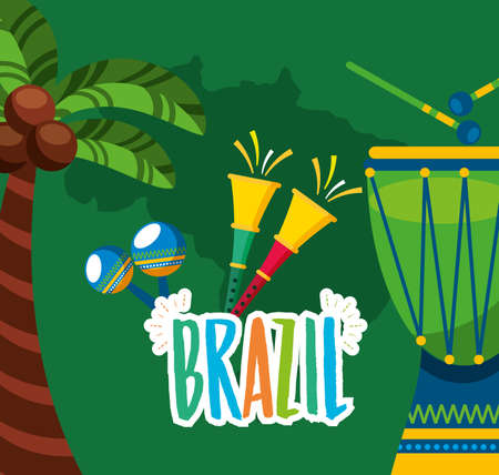 canival of brazilian celebration with bongos instruments vector illustration design Banque d'images - 154321087