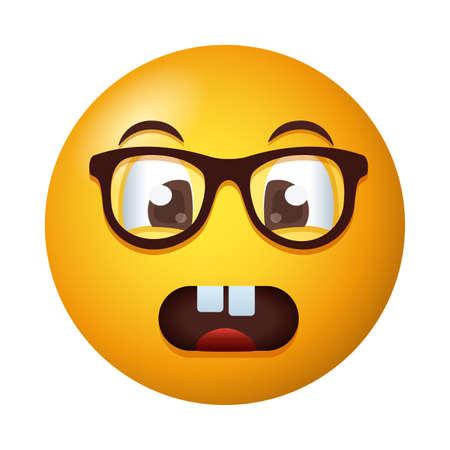 terrified emoji face wearing eyeglasses degradient style vector illustration design Vetores
