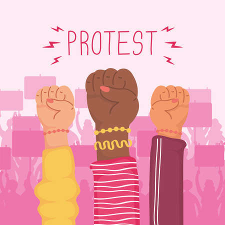 interracial hands humans fists protest icons vector illustration design