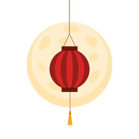 Chinese red lantern in front of moon design, China culture asia and oriental theme Vector illustration