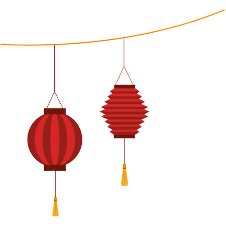 Chinese red lanterns design, China culture asia and oriental theme Vector illustration