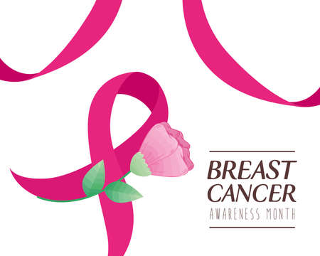 pink ribbon with flower of cancer awareness design, campaign and prevention theme Vector illustration