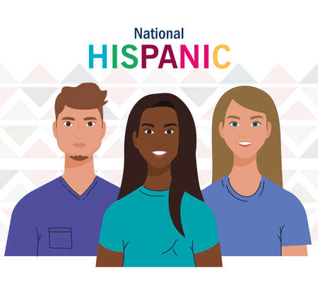 latin women and man cartoons design, national hispanic heritage month and culture theme Vector illustration