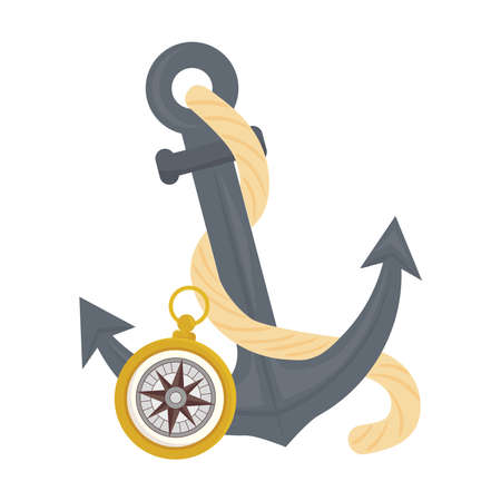 Anchor with compass design Sea nautical ocean navigation travel underwater water and marine theme Vector illustration