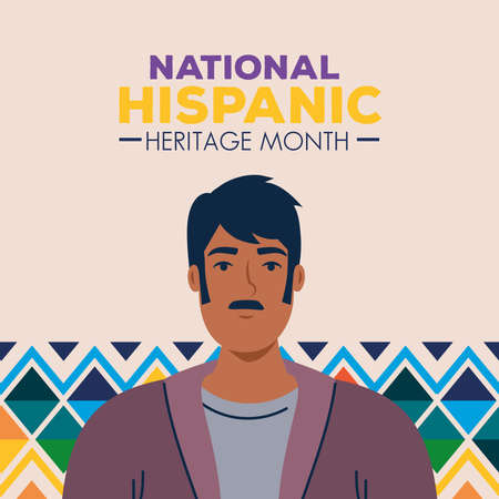 latin man cartoon with colored shapes design, national hispanic heritage month and culture theme Vector illustration
