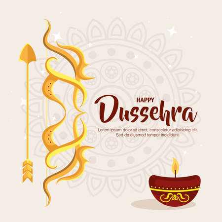 gold bow with arrow and candle on mandala background design, Happy dussehra festival and indian theme Vector illustration