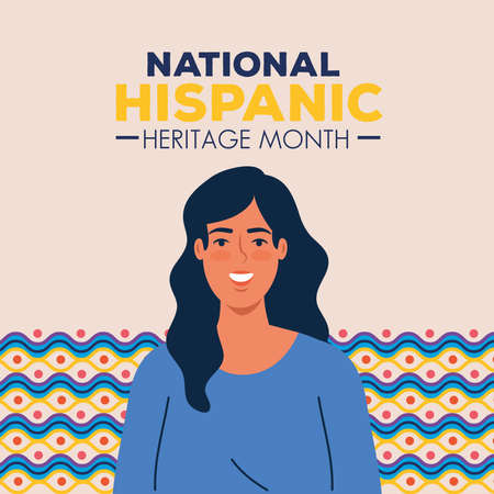 latin woman cartoon with colored shapes design, national hispanic heritage month and culture theme Vector illustration