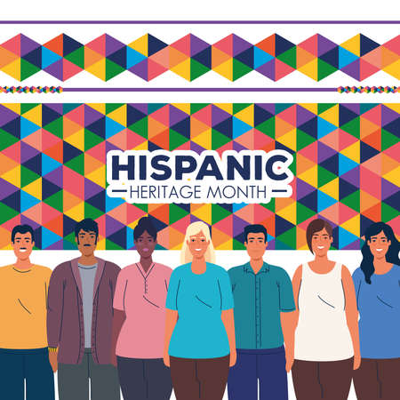 latin women and men cartoons with colored shapes design, national hispanic heritage month and culture theme Vector illustration 矢量图像