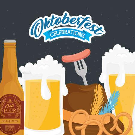 beer bottle glass hat and pretzels design, Oktoberfest germany festival and celebration theme Vector illustration