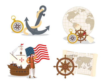 Christopher Columbus cartoon with ship and icon set design of happy columbus day america and discovery theme Vector illustration Vector Illustration