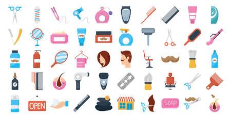 bundle of barber shop set icons vector illustration design