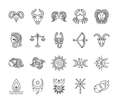 bundle of zodiac signs and symbols vector illustration design