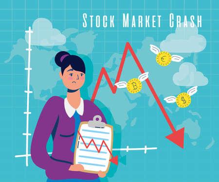 businesswoman with stock market crash icons vector illustration design